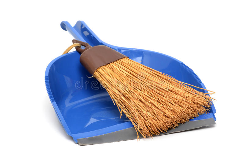 Hand Broom. Dustpan and whisk broom on white stock photos