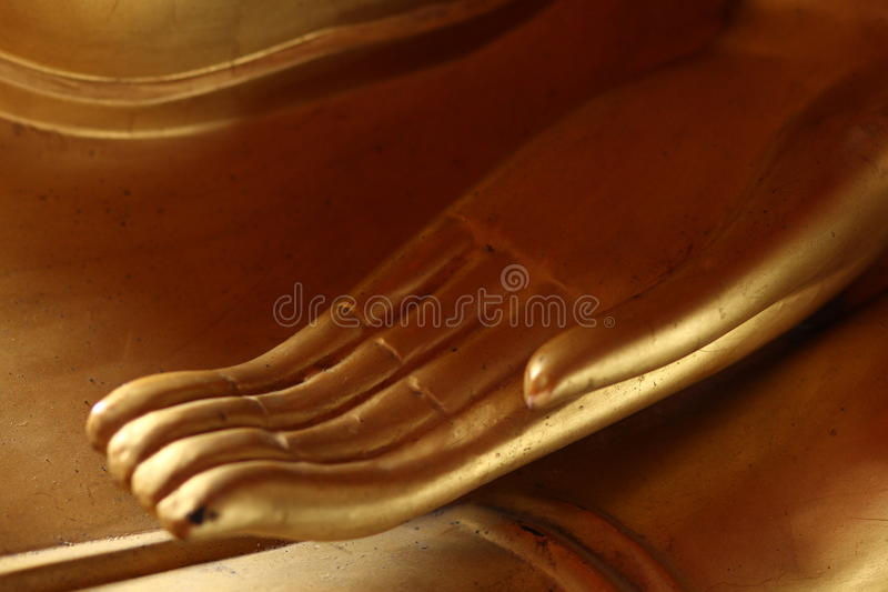 Hand of the Buddha meditation. A specific Buddhist mediation hand attitude-a detail of a statue royalty free stock photos