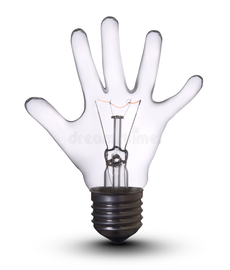 Hand bulb royalty free stock image