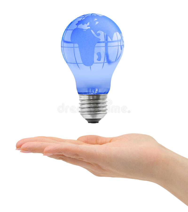 Download Hand And Bulb With Globe Stock Photos - Image: 27450903