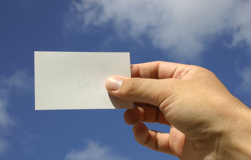 Hand and Business Card stock photo