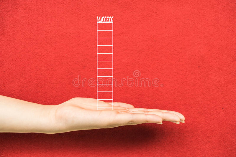 Hand business fear. Hand isolated on red background for design stock images