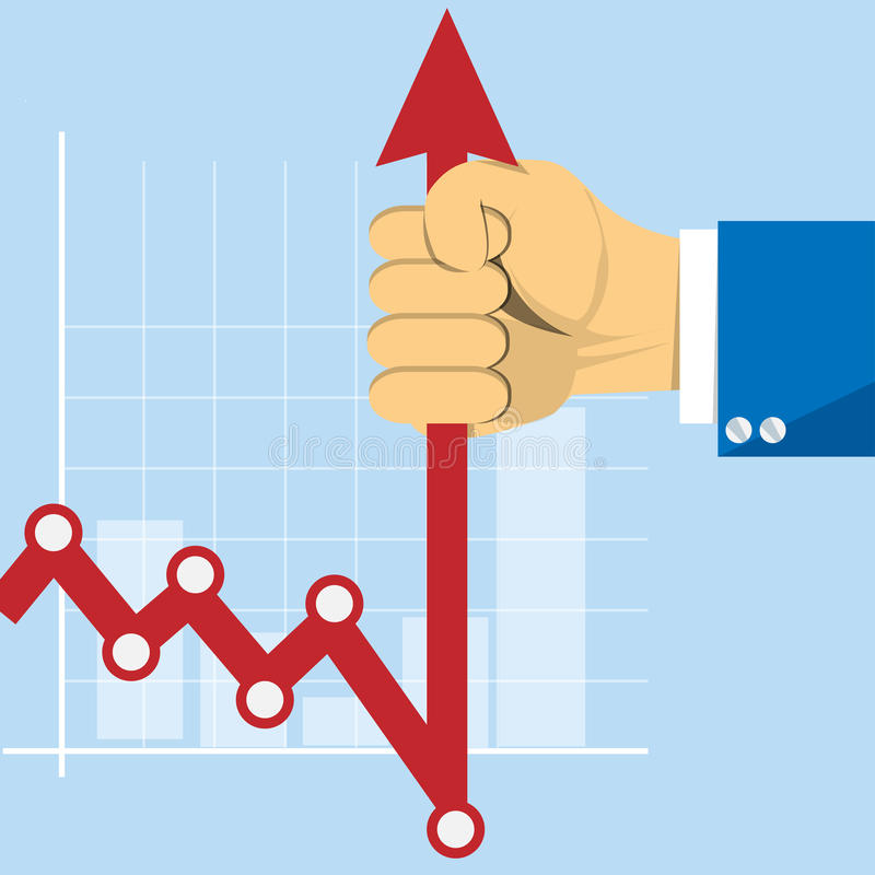 Hand with business graph arrow. Concept stockbroker profession royalty free illustration