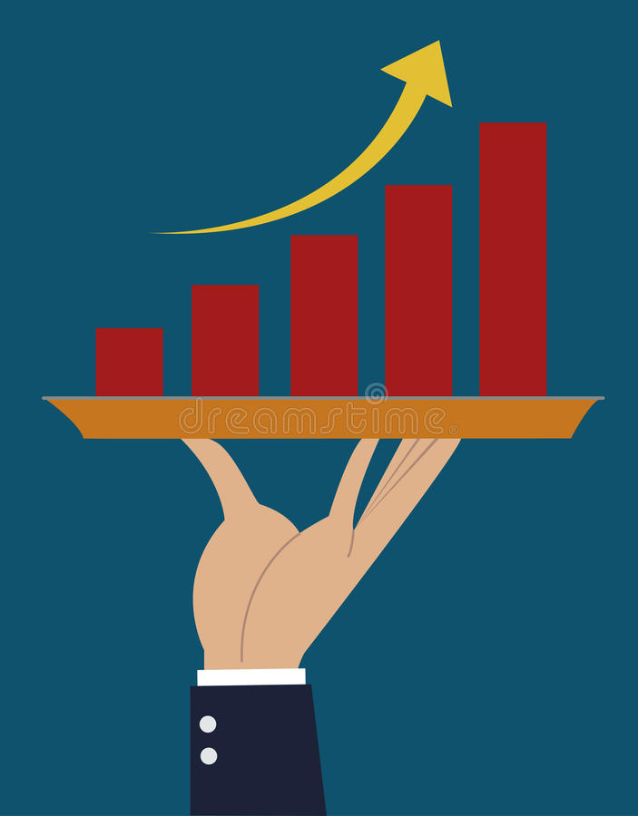 Hand business growth graph stock illustration