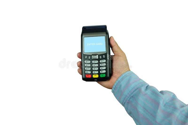 Hand of business man is holding POS Terminal Credit Card Machine isolated on white royalty free stock images