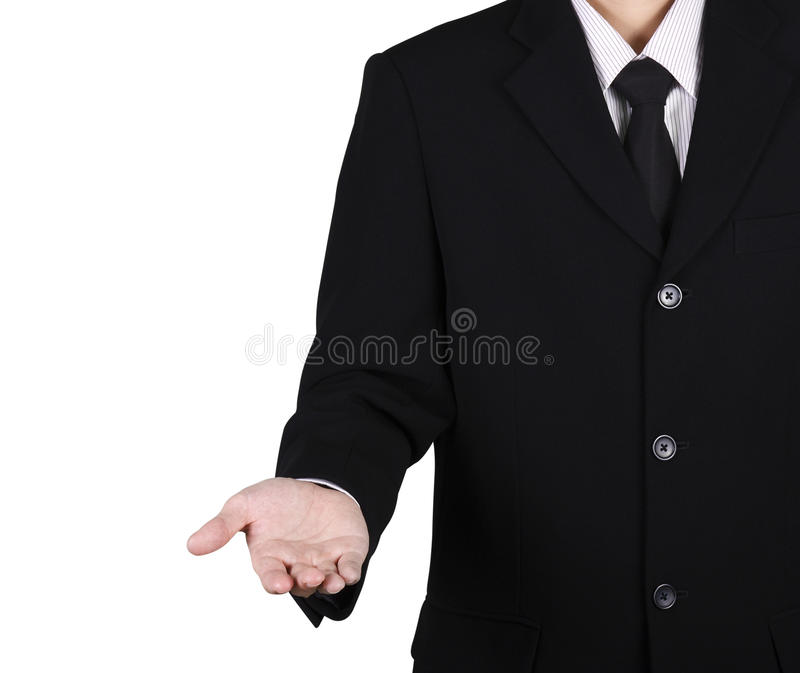 Hand of business man portrait isolated give feeling. On white royalty free stock image