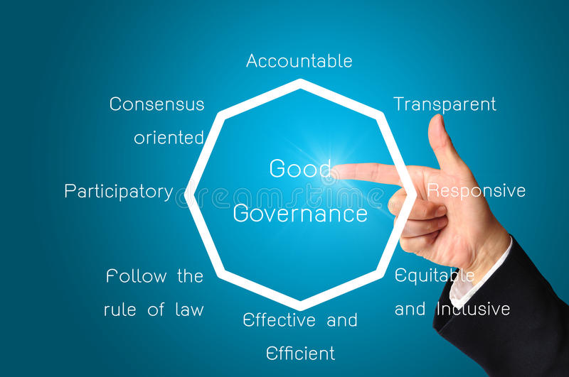Hand of business man present good governance. Hand of business man present chart or diagram of good governance for use as illustration royalty free illustration