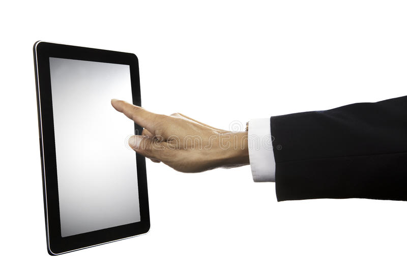 Hand of business man touching on tablet screen isolated on white stock image
