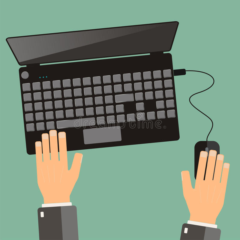 Hand of business man use laptop. Top view, flat design. Vector vector illustration
