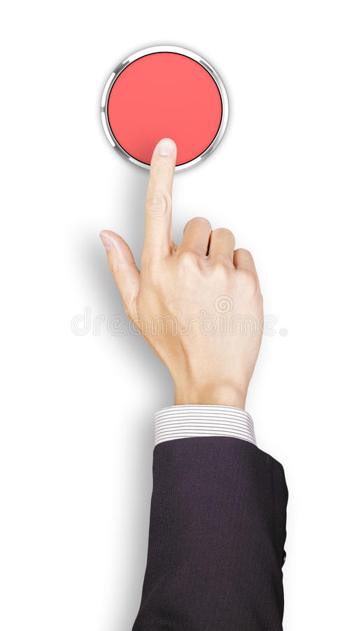 Hand of businessman clicking a red button, top. Hand of businessman clicking a 3d rendered red button, top view royalty free stock images