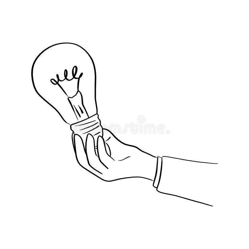 hand of businessman holding bulb light vector illustration sketch hand drawn with black lines isolated on white background vector illustration
