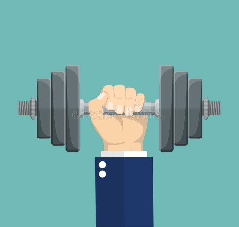 Hand of Businessman holding dumbbell. vector illustration