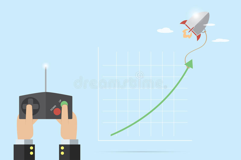 Hand of businessman holding remote control to control rocket for pull green arrow up, business concept stock illustration