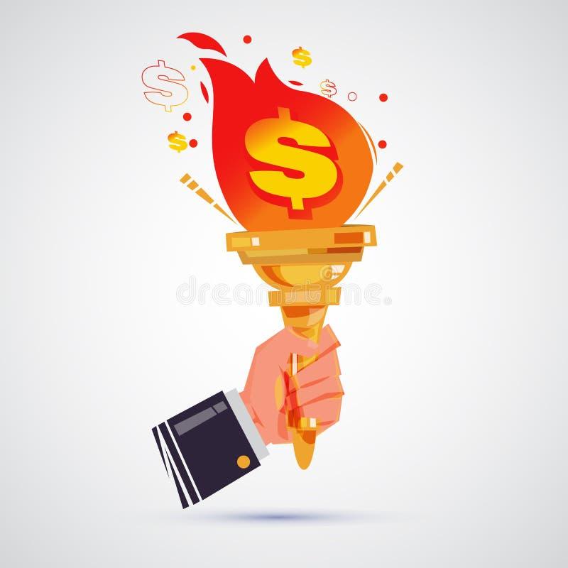 Hand of businessman holding torch of lightbulb idea. power of royalty free illustration