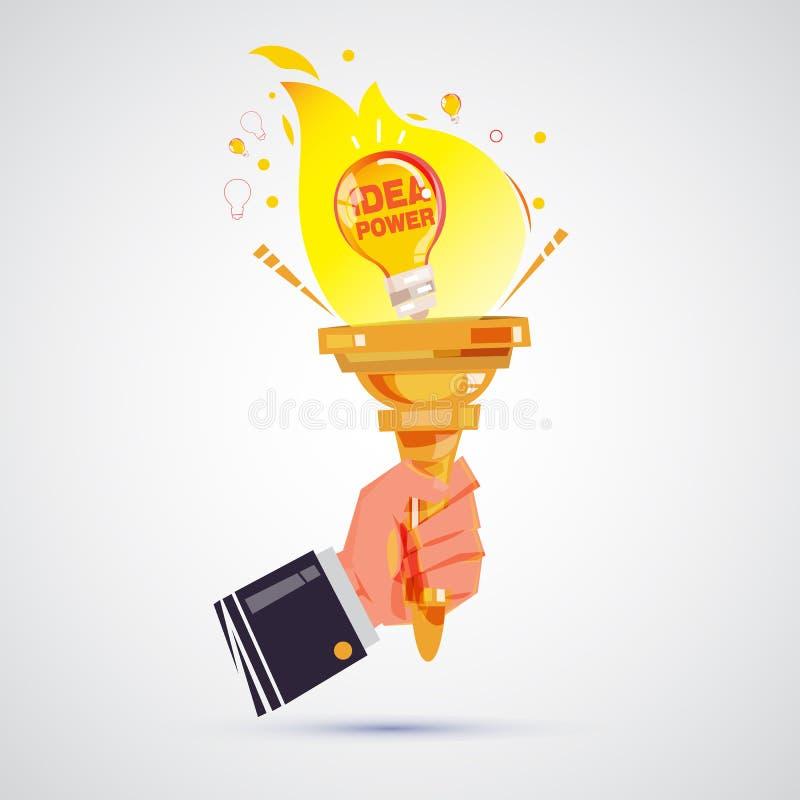 Hand of businessman holding torch of lightbulb idea. power of idea. startup concept stock illustration