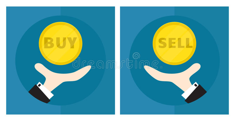 Hand of businessman, man throws coin. The situation is choice. The decision to buy or sell. Icon. Vector. Illustration vector illustration