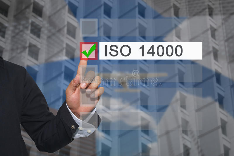 Hand of businessman use finger touch to button to select in Text. Box of ISO 14000 concept of Presentation or advertise in your business stock photo