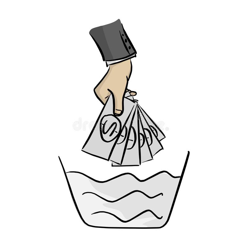 Hand of businessman washing money on the bowl vector illustration sketch doodle hand drawn with black lines isolated on white royalty free illustration
