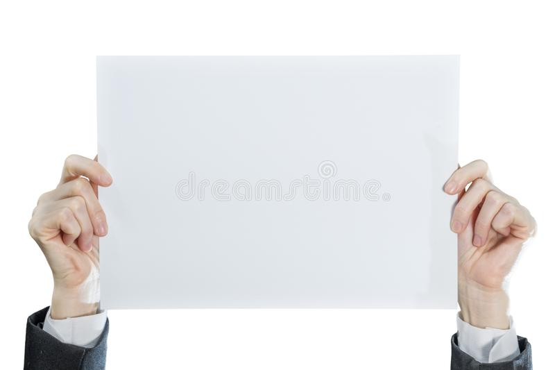 Hand of businesswoman showing blank paper side card isolated on white background royalty free stock photography