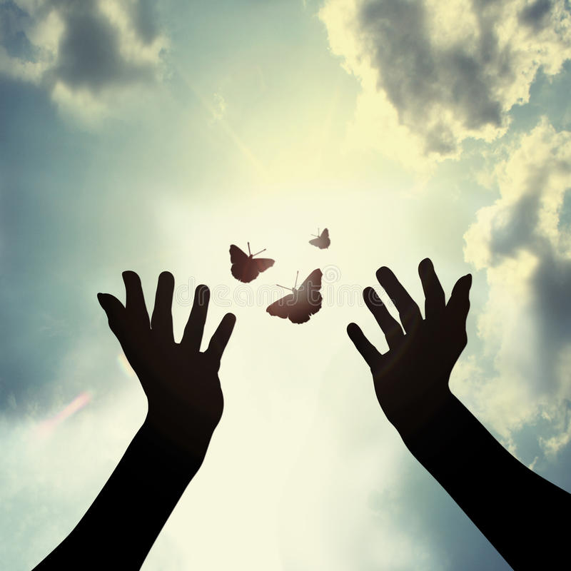 Download Hand with butterfly in sky stock illustration. Image of black - 34202872
