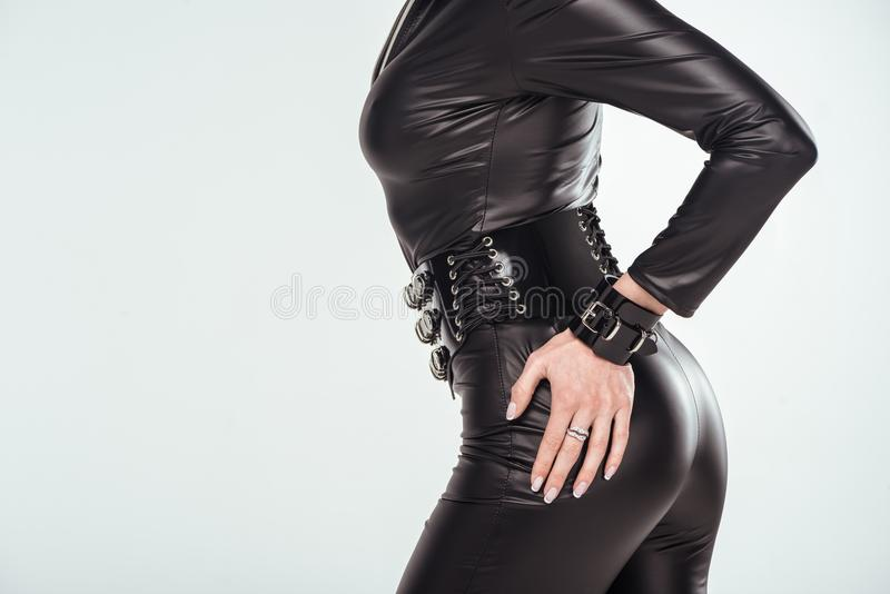 Hand of buttocks of seductive young woman stock photo