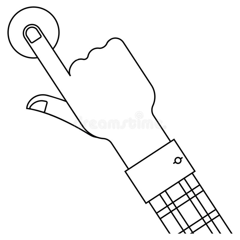 Hand and button. Outline isolated illustration royalty free illustration