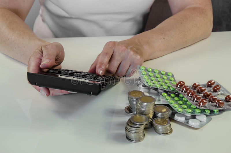 Hand with calculator, money and pills concept. Person counting the price of medicals with the calculator royalty free stock images