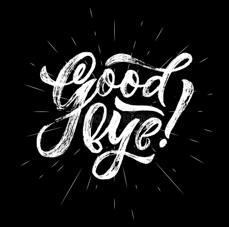 Hand calligraphy Good bye on black background Vector stock illustratie