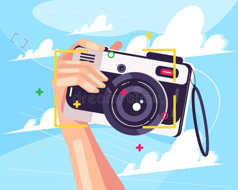 Hand and Camera. Hand Holding a Camera ready for taking a picture stock illustration