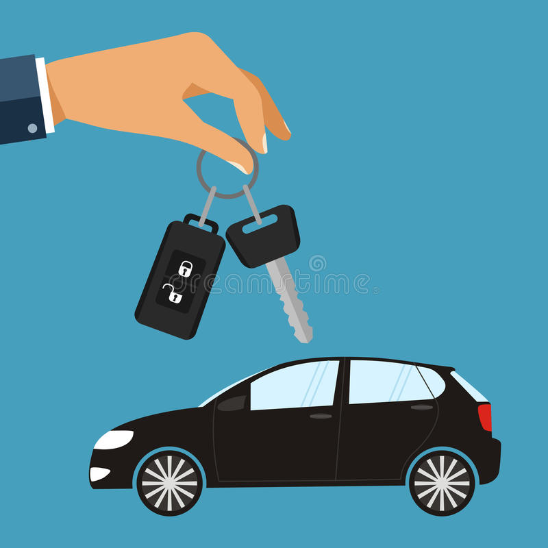 Hand with car keys. Concept rent or buying car. illustration in. Flat design royalty free illustration