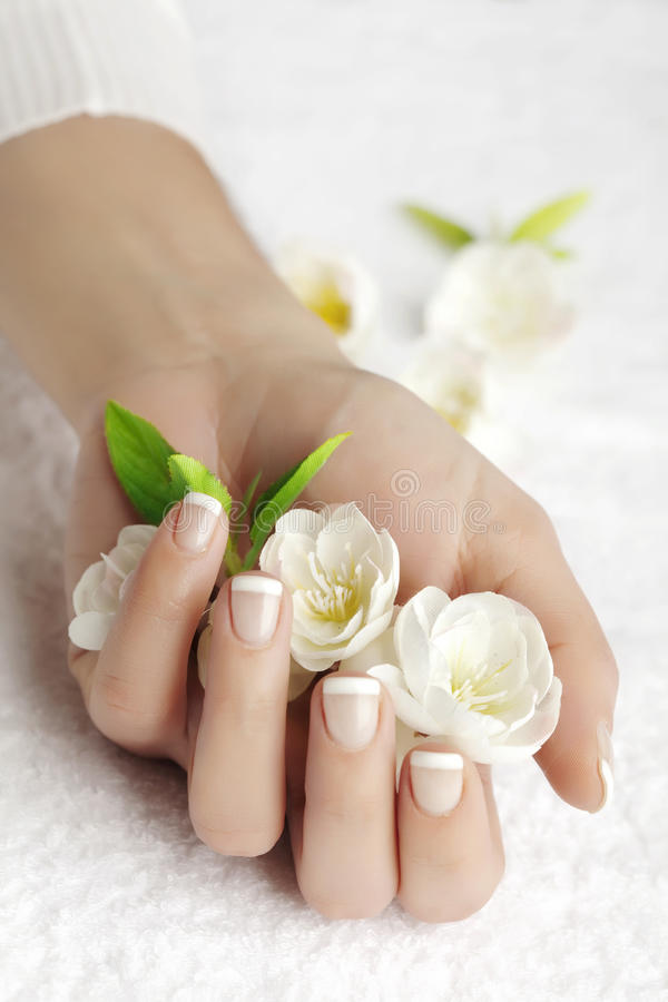 Hand care. Hand fuld of flowers (artificial stock photography