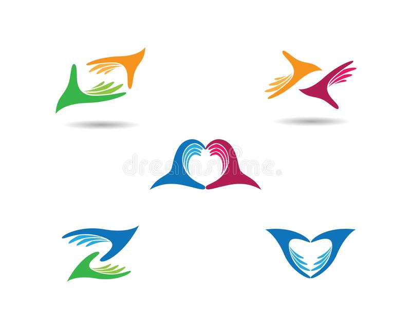 Hand care logo cemplate vector icon. Illustration, support, helpful, team, friendship, cooperation, love, teamwork, partnership, together, hope, charity stock illustration