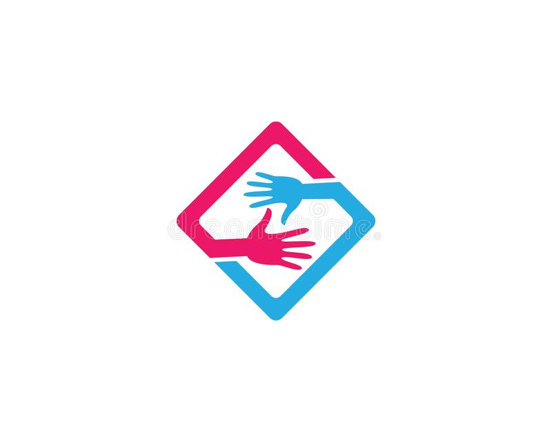 Hand care logo cemplate vector icon. Illustration, support, helpful, team, friendship, cooperation, love, teamwork, partnership, together, hope, charity royalty free illustration
