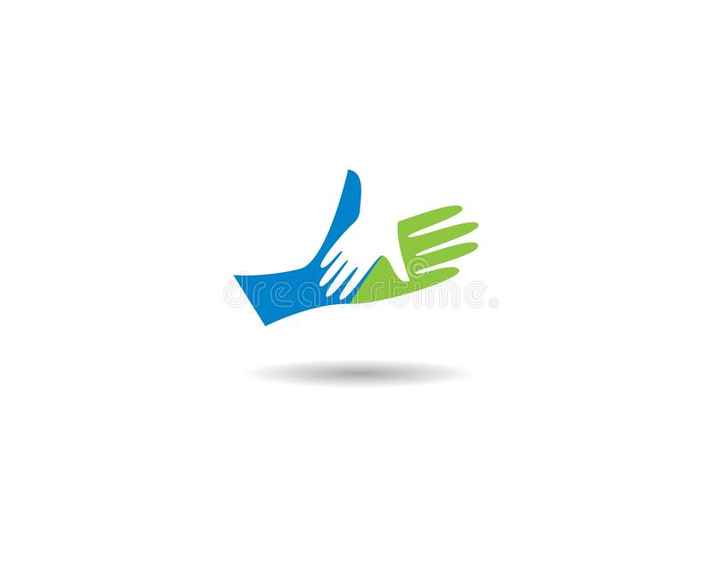Hand Care Logo Template. Vector icon Business, support, helpful, team, friendship, cooperation, love, teamwork, partnership, together, hope, charity, assistance royalty free illustration