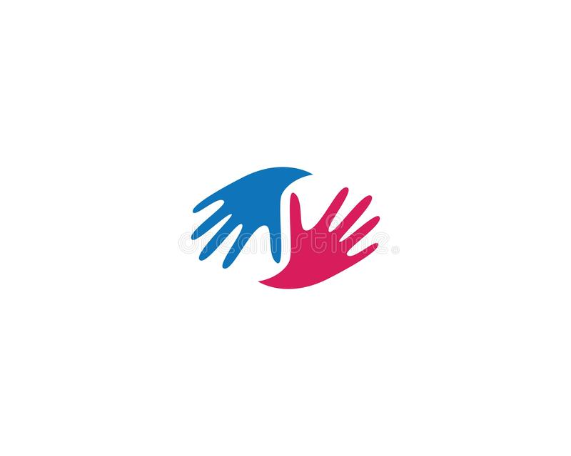Hand Care Logo Template. Vector icon Business, support, helpful, team, friendship, cooperation, love, teamwork, partnership, together, hope, charity, assistance stock illustration