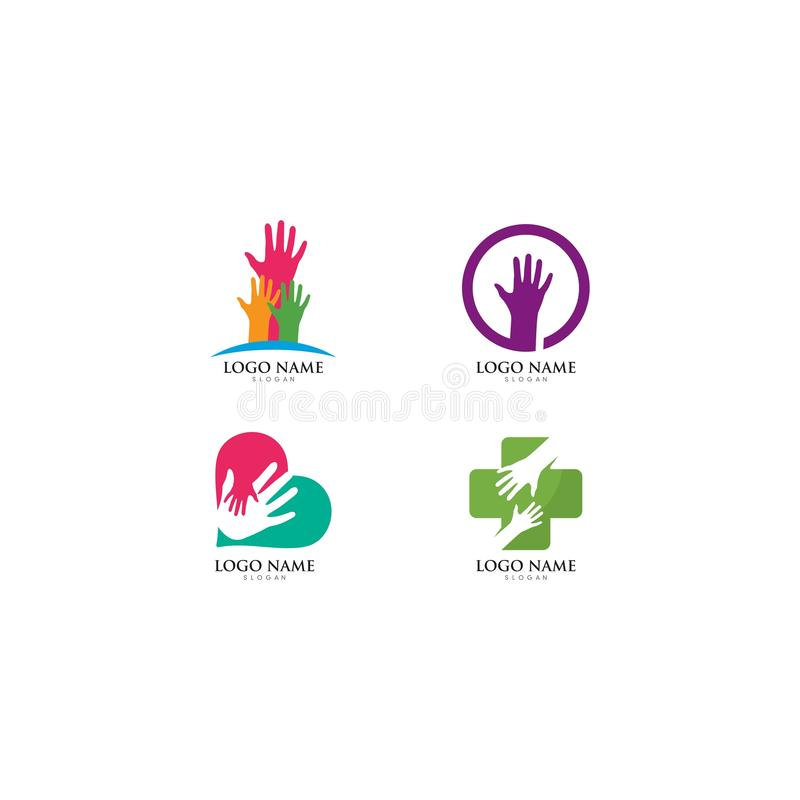 Hand Care Logo Template vector icon illustration. Design, hands, business, abstract, white, health, holding, support, symbol, isolated, together, happy stock illustration