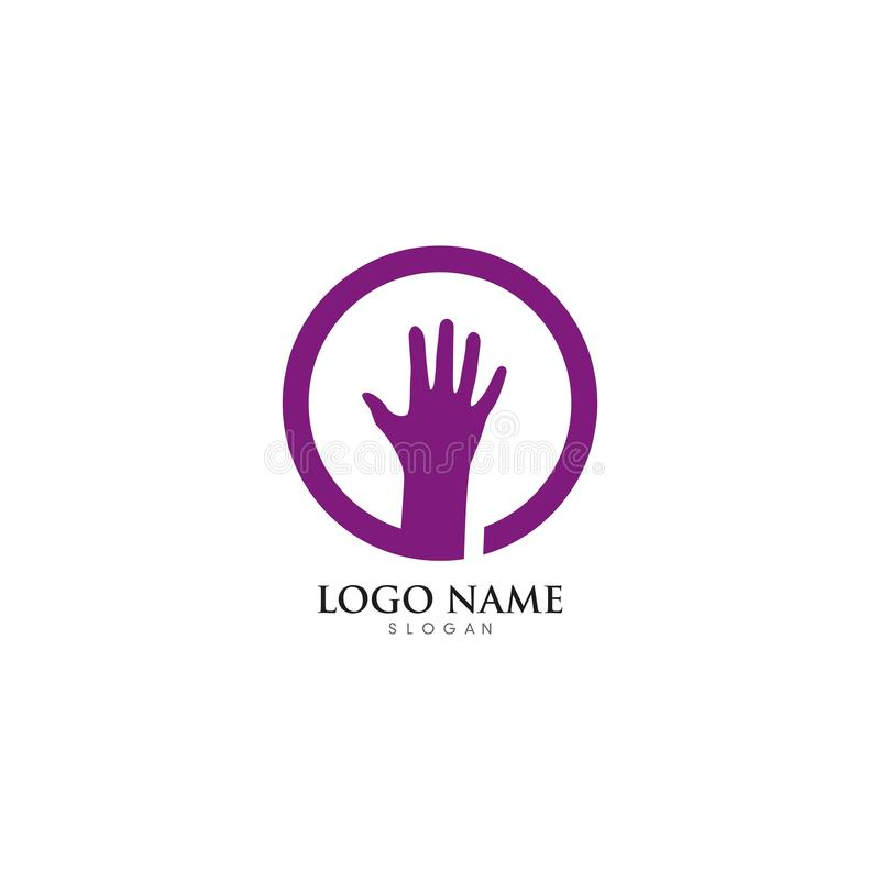 Hand Care Logo Template vector icon illustration. Design, hands, business, abstract, white, health, holding, support, symbol, isolated, together, happy royalty free illustration