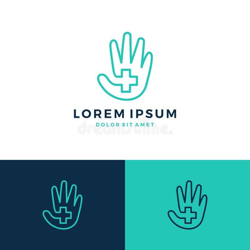 Hand care plus care logo. Hand care plus cross medicine logo vector line art outline icon download royalty free illustration