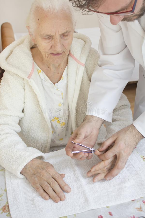 The male nurse in a white coat cuts off the nails of a very old woman. stock images