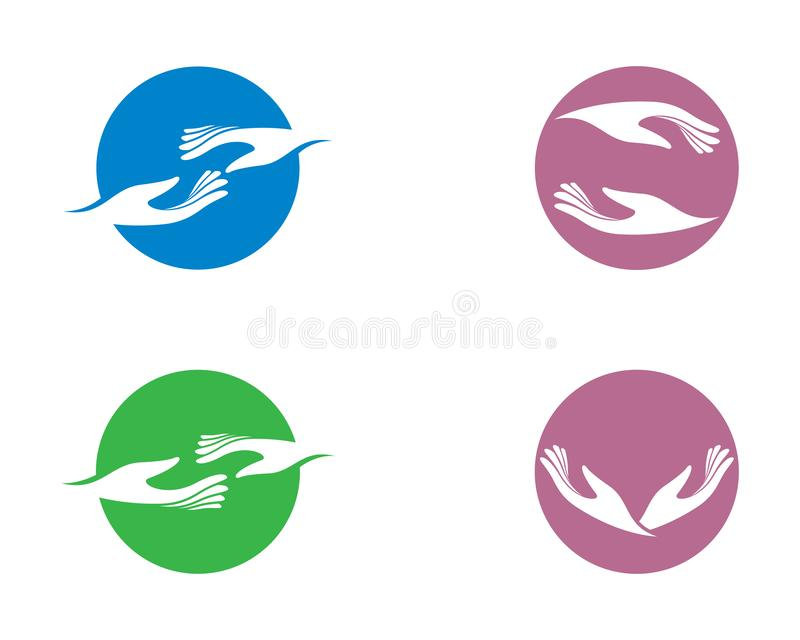 Hand care vector icon illustration. Hand care logo template vector icon illustration, support, helpful, team, friendship, cooperation, love, teamwork royalty free illustration