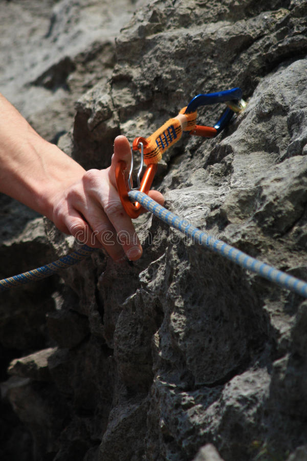 Hand Caring For Safety - Climbing Royalty Free Stock Photos
