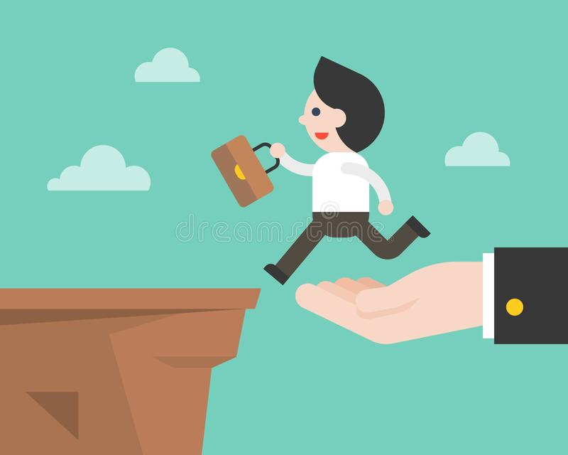Hand carry business man to cross the cliff ,business situation c stock illustration