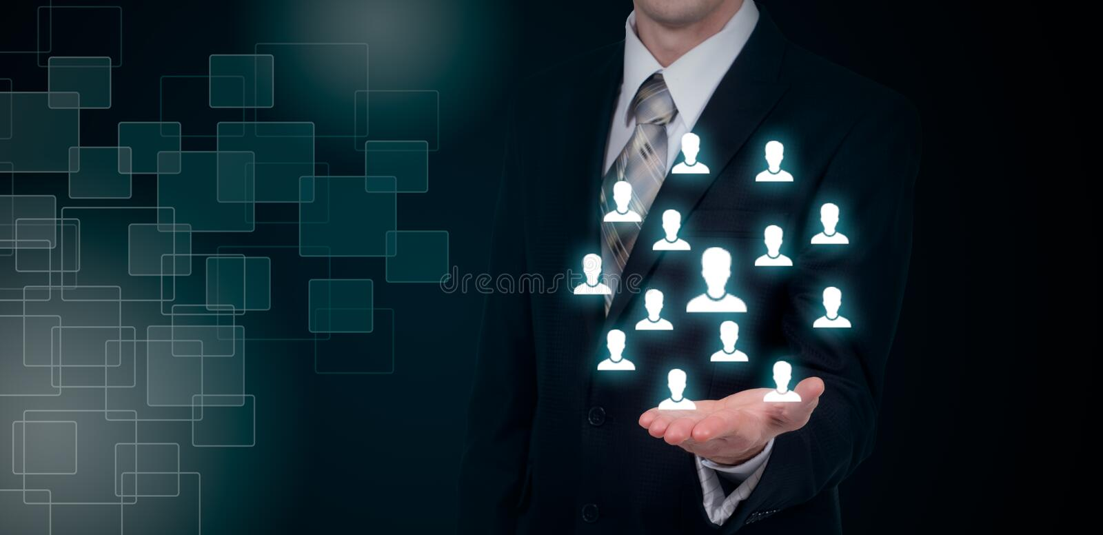 Hand carrying businessman icon network - HR teamwork and leadership concept. royalty free stock photography