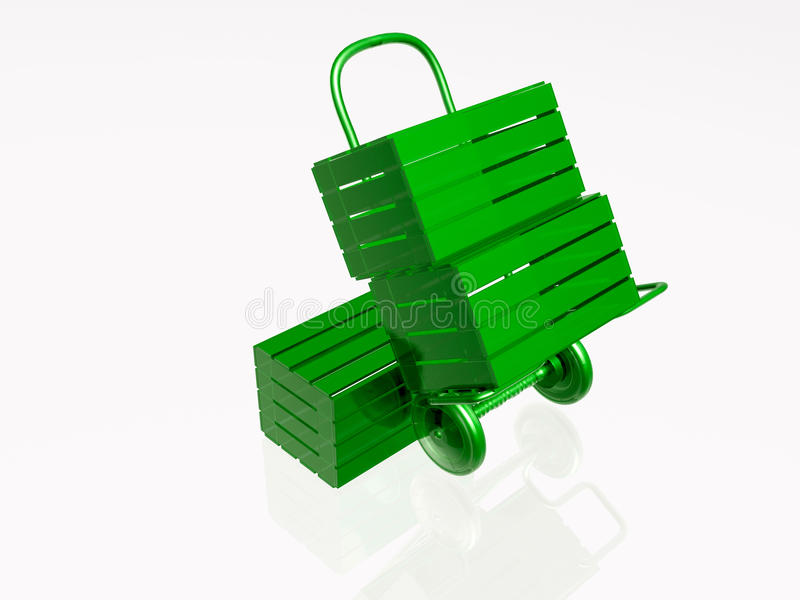 Hand-cart and boxes royalty free illustration