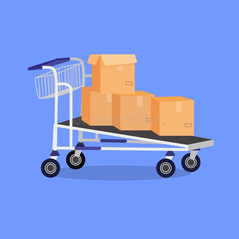 Hand cart with boxes royalty free illustration
