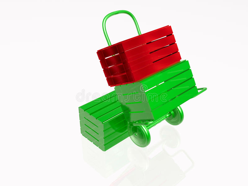 Hand-cart and cases. Logistics: hand-cart and three cases on white background royalty free illustration