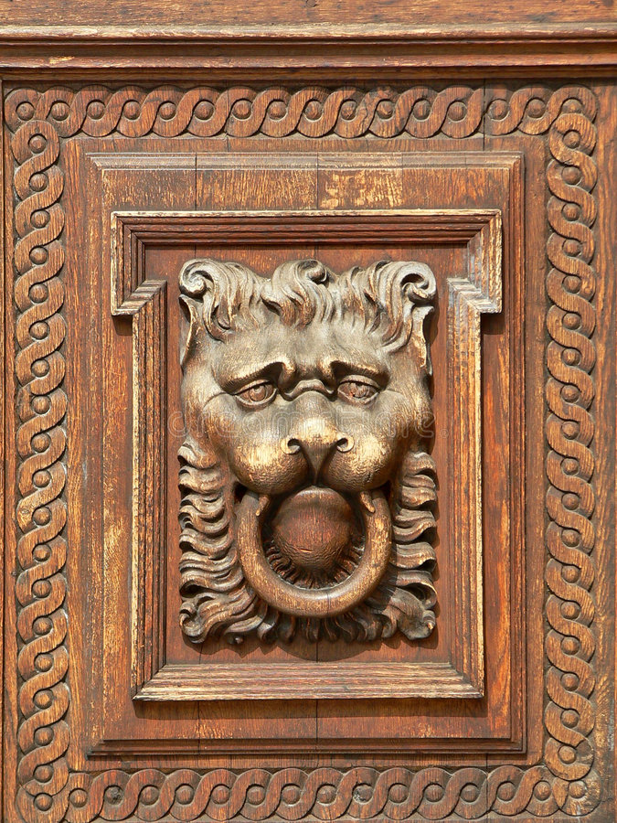 Hand Carved Wood Door. With Lion Head royalty free stock images