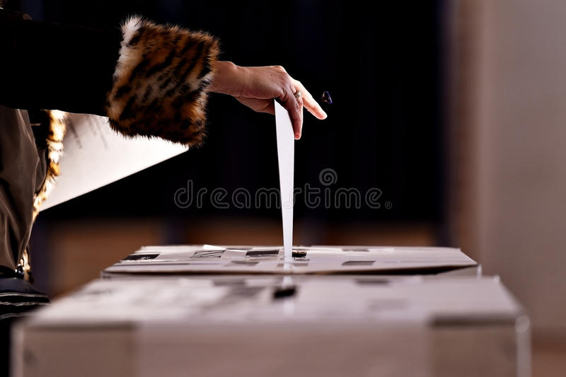 Hand casting a vote into the ballot box. Hand with a stamp casting a vote into the ballot box during elections royalty free stock photography