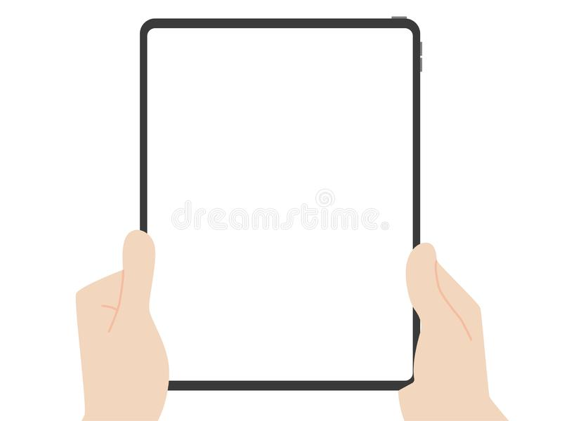 Hand catch and point to new powerful tablet new design advance technology. With high resolution display, liquid retina display, business device, tablet, screen vector illustration