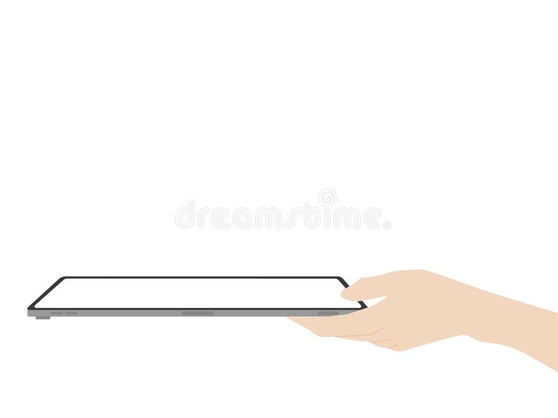Hand catch and point to new powerful tablet new design advance technology. With high resolution display, liquid retina display, business device, tablet, screen royalty free illustration